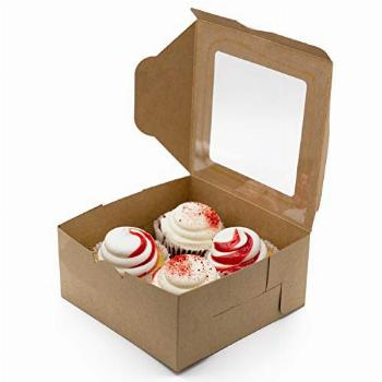 35 Pack Cupcake Boxes With Inserts Holder amp Window - Holds 4
