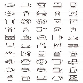 50 Coffee Shop Line Icons by IconBunny on Creative Market -  50 Coffee Shop Line Icons by IconBunny