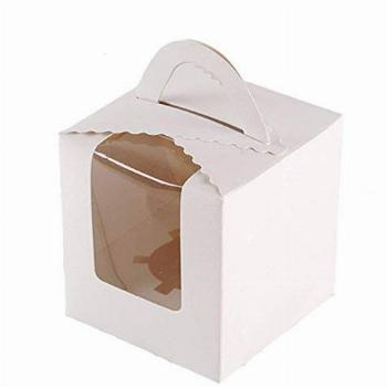 50 Pcs Single White Cupcakes Containers Gift Boxes with