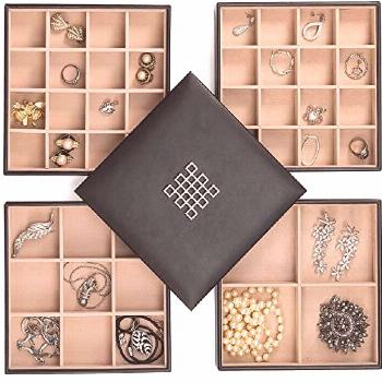 Best Seller Glenor Co Earring Organizer Tray - 4 Stackable Trays  Lid -45 Slot Classic Jewelry Stor