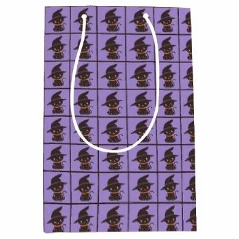 Black Cat With A Witch Hat Halloween Medium Gift Bag Black Cat With A Witch Hat Halloween Medium Gi