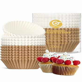 Cupcake Liners Standard Size for Baking, 200 Count Nonstick