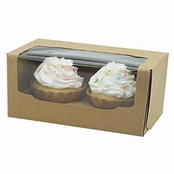 Double Cupcake Container Brown with Inserts,25 Pcs Easy