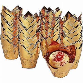 Gold Tulip Cupcake Liners, Foil Muffin Baking Cups (3.35 x