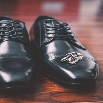 Grooms wedding day details Grooms wedding day details inspiration. Black leather dress shoes with c