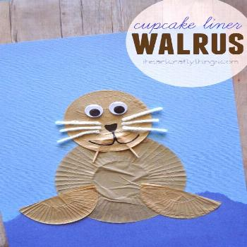 Make a Walrus Kids Craft out of cupcake liners. Fun craft for an ocean theme and for preschool. fro