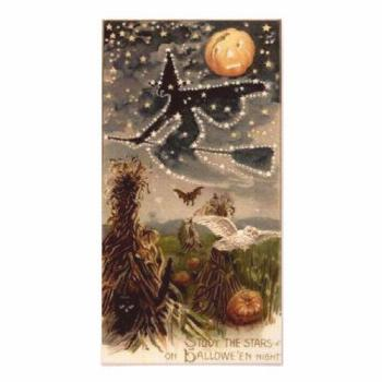Starry Witch on Broomstick Poster Starry Witch on Broomstick Poster  vintage halloween, halloween b