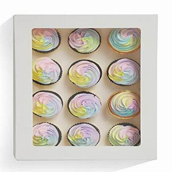 Yotruth 15 Packs Cupcake Boxes Hold 12 Cupcakes,White Bakery