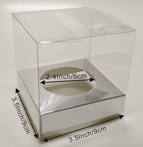 50PCS 3.5Inch Clear Cupcake Boxes With 2.4Inch Hole Silver