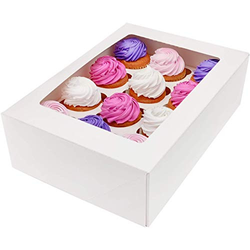 BakeLuv White Bakery Cupcake Boxes with Window   13x9.5x4