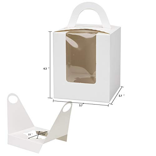 Jucoan 100 Pack Single White Kraft Cupcakes Boxes with